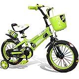 Yuany Kinderfahrräder, Herren- und Damenfahrräder, Kinderwagen, 12/14/16 Zoll 2-6 Jahre altes Fahrrad, Babyspielzeugauto (Farbe: GRÜN, Größe: 14 Zoll)