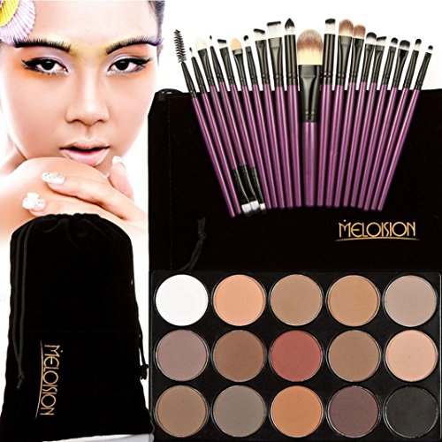Tonsee 15 Couleur Fard à paupières+ 20 Pcs 20 pièces maquillage brosses Concealer Shadow de poudre pour le visage (Violet+Noir)