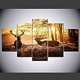 HXZFF Bilder 150x80 cm - Leinwandbilder - Kein Rahmen - Vlies Leinwand - 5 Teilig - Wandbilder - Kunstdrucke - Wandbild - Sonnenuntergang Elch