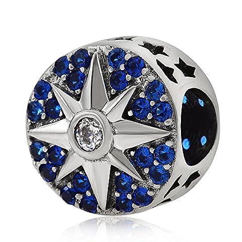 Sun Star Charms echtes 925Sterling Silber Kristall Bead Charm passend für europäische Armband Halskette