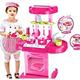 Happy GiftMart Kitchen Set Kids Luxury Battery Operated Kitchen Super Set Toy With Light And Sound Carry Case