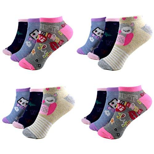 12 Paar Kids Mädchen Socken Kinder Sneaker Ladies Strümpfe 95{f257e4844af1c855cf5d3d7eff200ac9f608b6a9540a4eac1e58664e8e74e352} Baumwolle A-C-220-C217 Gr.23-38 (27-30, Muster 1_217)