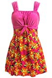 Wantdo Damen Figurformend Einteiler Badeanzug Schwimmkleid Retro Raffung Bademode Große Rosa 40-42