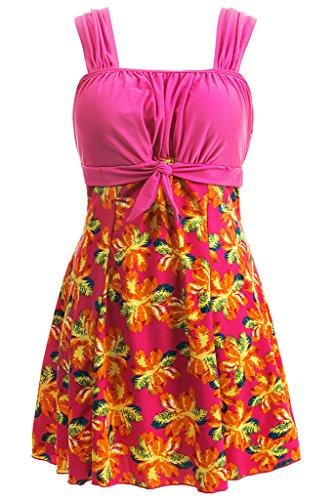 Wantdo Badeanzug Damen Bauchweg Schwimmkleid Bademode Große Größen mit Röckchen Push Up Rosa 36-38 (Erste Größe Badeanzug)