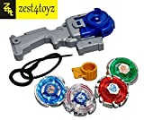 Zest 4 Toyz 4 in 1 Beyblades Metal Fighters Fury with Metal Fight Ring and Handle Launcher