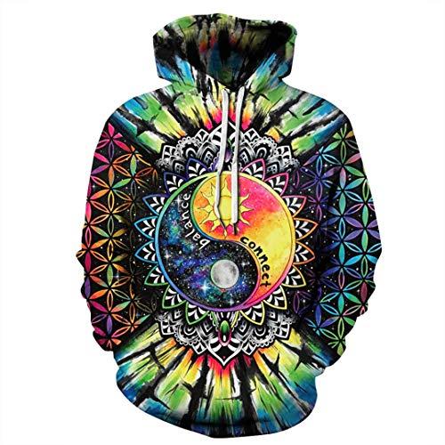 XOZDWE 7 Mandala Floral Colorido Imprime Mujeres Chaqueta con Capucha para niños Floja Ocasional de los Hombres Sudaderas con Capucha de Bolsillo Qydm-336 XL
