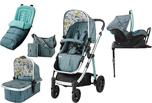 Cosatto wow Travel system with Port Isofix base Bag and footmuff (Fjord) Cosatto Includes - Pushchair, Carrycot, Port Car seat, Isofix base, Footmuff, Changing bag and Raincover Suitable from birth up to 15kg (4 years approx.) 'In or out' facing pushchair seat lets them bond with you or enjoy the view 1