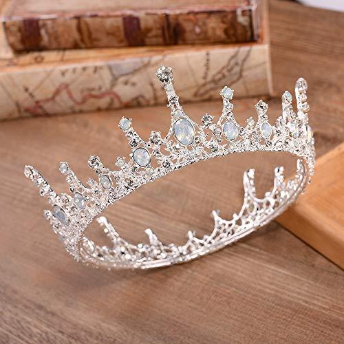 Yinglihua Hochzeitskrone der Brautprinzessin Jeweled Barock Queen Crown Strass Hochzeit Kronen und Diademe für Mädchen Accessoires Kopfschmuck (Color : Silver, Size : 15 * 5.5cm)
