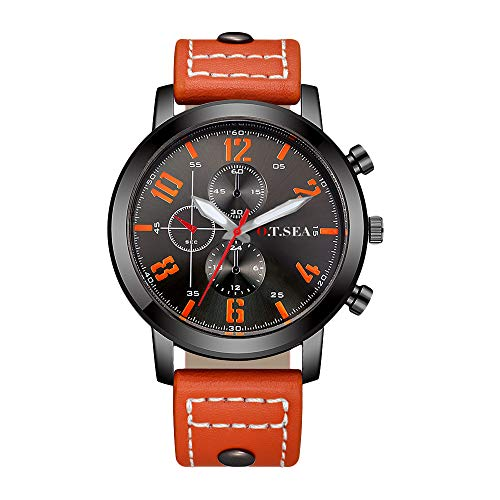 Souarts Herren Schwarz Retro Stil Kunstleder Armbanduhr Quartzuhr Uhr mit Batterie (Orange)