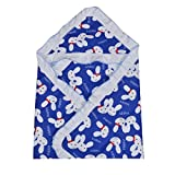 #5: Guru Kripa Baby ProductsTM Presents New Born Baby 100% Cotton Soft To Baby Delicate . Skin Cartoon Print Hooded Chaddar Cum Odddna Wrapping Wrapper Sheet Double Layer Baby Sleeping Cotton Sheet (Nevy Blue Rabbit)