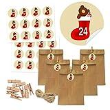DIY Adventskalender Set zum selber Basteln und Befüllen, 24 Kraftpapiertüten braun groß mit 24 Aufkleber-Zahlen 24 Holz klammern, 10m Jute Hanfseile, selbstgemachter Adventskalender Weihnachtskalender