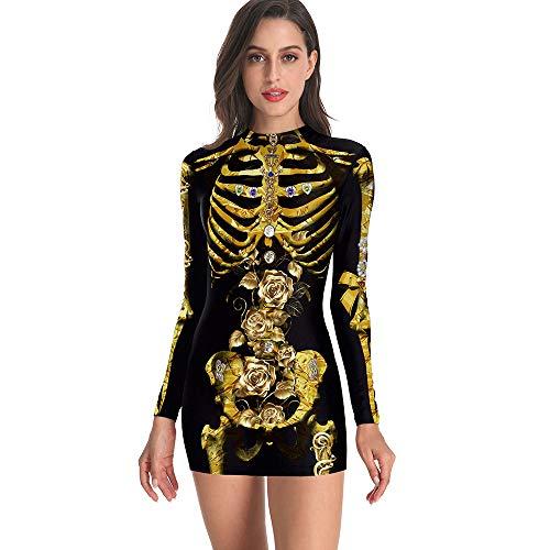 Halloween Horror Costume, Sexy Adulto Scheletro Girocollo Slim Abito Manica Lunga con Stampa 3D per Donna, Perfetto per Halloween Party e Carnevale,XXL