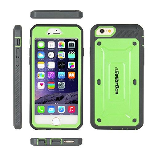 eSellerBox Coque de protection arrière et avant robuste et rigide pour iPhone 6/6s Antichoc/anti-rayures, plastique, noir, iPhone 6/6S vert