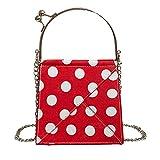 YULAND Damen Ledertasche Kleine, Umhängetaschen Handtaschen Frau Handtasche Mode Einfacher Punkt Schultertasche Lässige Wave Point Umhängetasche (Rot)