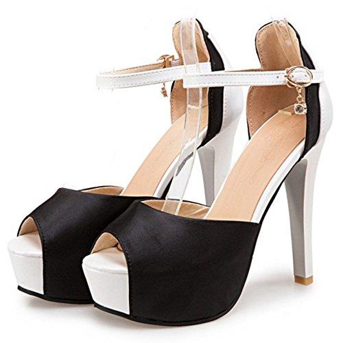 COOLCEPT Femmes Mode Cheville Sandales Peep Toe Talon Aiguille Chaussures Noir