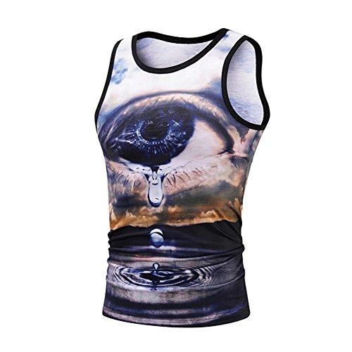 Dotbuy 3D Grafik Druck Tank Top Herren Ärmellose Sport Weste, Herren Mode bunt gedruckt Casual Muskel Shirt Gentleman Blickfang - Shirt männlichen Sport Outdoor Sport Jersey