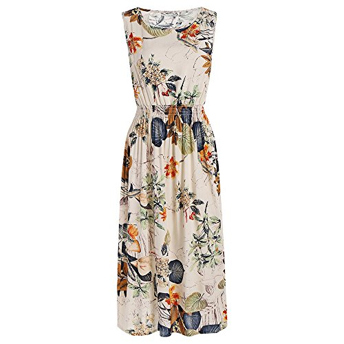 b658e1302da DressLily Elastic High Waist Plants Printed Midi Dress