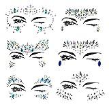 Weimi Gesicht Edelsteine Glitter Strass Temporäre Tattoo Gesicht Juwelen Kristalle Gesicht Aufkleber Augenbraue Gesicht Körper Schmuck (6 Stück)