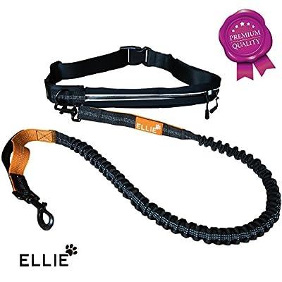 ELLIE | Premium Jogging Hundeleine | verstellbarer Bauchgurt mit zwei Taschen | elastisch und reflektierend - dehnbar bis ca. 175 cm | stabiler Doppelgriff für sicheren Halt