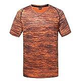 Été Hommes T-Shirt à Manches Courtes T-Shirt décontracté à col Rond Fitness Sport Séchage Rapide Respirant Top Blouse Red Green Blue Orange Gray Large Szie L-5XL(Large,Orange)