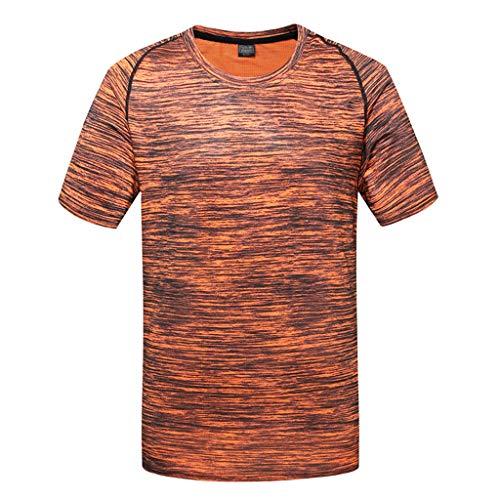Shangqi Herren T-Shirt atmungsaktives Sportshirt kurzärmliges und schnelltrocknendes Trainingsshirt mit enganliegender Passform T-Shirt atmungsaktiv Trainingsshirt Kurze Ärmel Herren Fitnessshirt