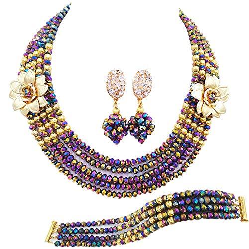 SSLL Schmuckset Mode Grün Combo Kristall Perlen Blume Halskette Ohrring Armband Frauen Fashion Party Hochzeit Brautschmuck Set, S (Halskette-ohrring-combo)