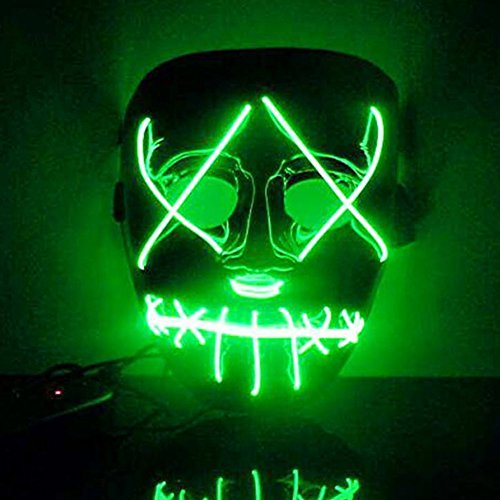 Rowentauk Halloween Scary LED-Maske, Halloween Cosplay LED Leuchten Maske Festival Halloween-Kostüm