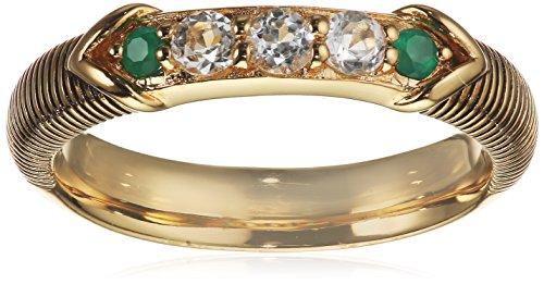 caï women Damen Ring 925 Silber gelb vergoldet und schwarz lackiert Topas weiß Chalzedon grün 58 (18.5)