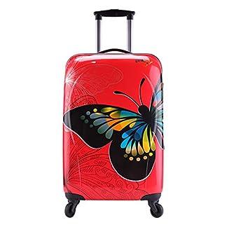 """Trolley equipaje de mano ABS+PC 4 ruedas rigida mariposa rojo permitido Especial compañías """"low cost"""" Partyprince"""