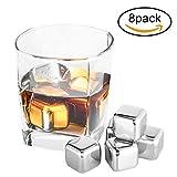 Pierre à Whisky Bamyko Glaçons en Acier Inoxydable Réutilisable Ice Cubes pour Bière Vin Boisson avec Tongs Glaces (Lot de 8)