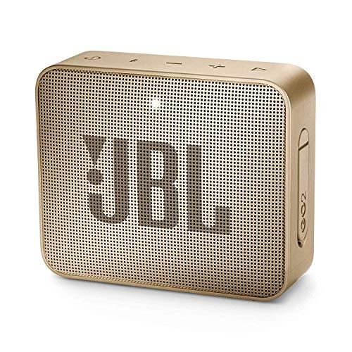 JBL GO 2 kleine Musikbox - Wasserfester, portabler Bluetooth-Lautsprecher mit Freisprechfunktion - Bis zu 5 Stunden Musikgenuss mit nur einer Akku-Ladung Champagner