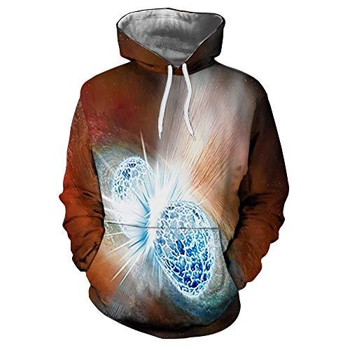 Kosmischer Sternenhimmel Unisex Hoodie 3D Drucken/Cosplay/Manga/Anime-Design Kapuzenpullover Sweatshirt Pullover,A,XXXL
