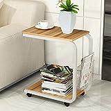 YK Moderner Minimalistischer Couchtisch, Schlafzimmertisch, Mobiler Nachttisch, Mini-Sofa-Schrank Im Wohnzimmer/Teetisch/Mobiler Schreibtisch/Laptoptisch,D,Einheitsgröße