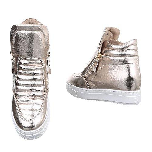 Damen Sneaker Schuhe Versteckter Keilabsatz Schwarz Elfenbein Grau 36 37 38 39 40 41 Champagner