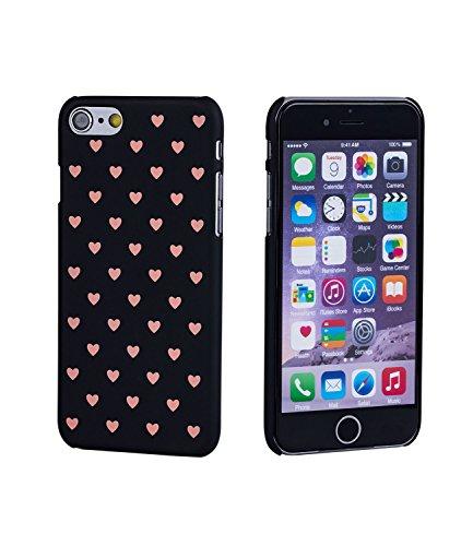 SIX Handyhülle für iPhone 8, Schutzhülle, Hard Case, Ultra Dünn, Herzchen, schwarz, rosa (425-550)