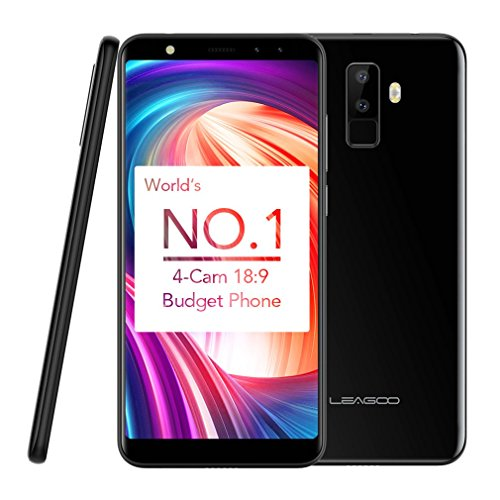 Mobile Phones Unlocked, LEAGOO M9 3G Android 7.0 Mobile Phones 5.5 inch 18:9 IPS Display Cell Phone MT6580A Quad Core 1.3GHz with 2GB RAM+16GB ROM Dual SIM Fingerprint GPS 2850mAh Battery