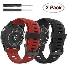MoKo Garmin Fenix 3 Accesorios, Banda [2 Pzs] Reemplazo de Silicona Suave Deportiva con Herramientas para Garmin Fenix 3 / Fenix 3 HR Smart Watch - Negro & Rojo Oscuro