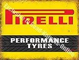 Pirelli Neumáticos Alto Rendimiento Motorsport Automovilismo Vintage Garaje Metal/Cartel Para Pared De Acero - 30 x 40 cm, acero