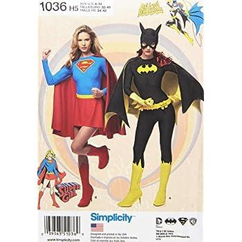Simplicity Schnittmuster 1036 Damen Super Girl/und/Batgirl Kostüme ...