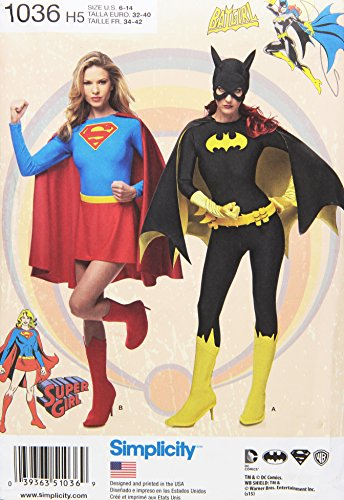 Semplicità 1036da donna super Girl e costumi da Batgirl da cucito, bianco, H5(6–8-10–12–14)