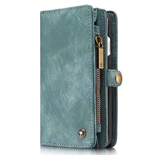HARRMS Apple iPhone X/XS Leder Case Handy Hülle Handytasche Geldbörse mit Kredit Kartenfächer Brieftasche Premium mit abnehmbar Magnet Schutzhülle,Blau