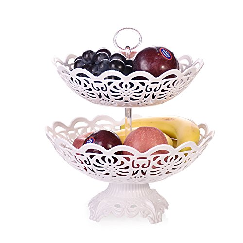 Alzata Frutta, Fruit stand per gli scaffali per più spazio sul piano di lavoro - toertchen pasticceria fruit Holder per Party, Birthday - White - Plastic, 2 Tier