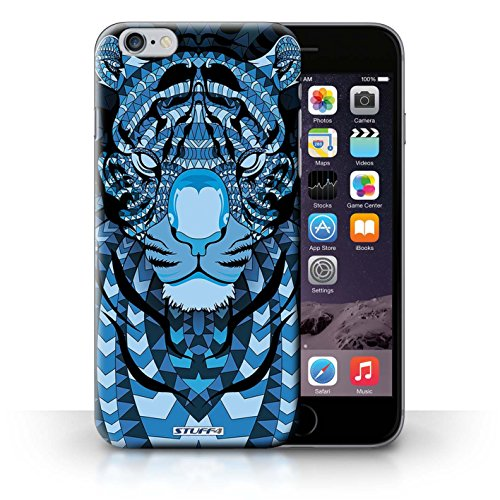 Hülle für iPhone 6+/Plus 5.5 / Wolf-Purpur / Aztec Tier Muster Kollektion Tiger-Blau