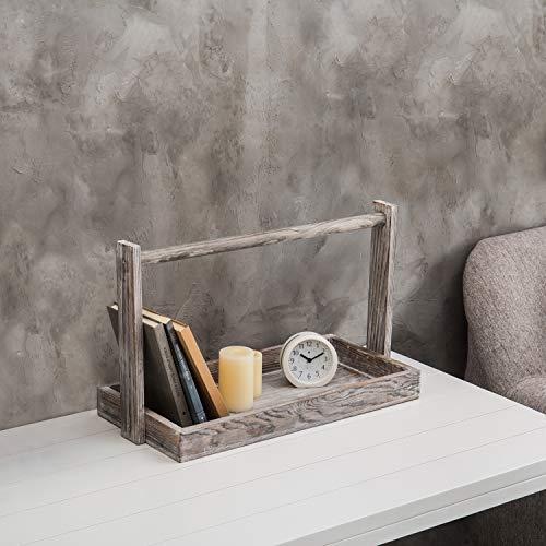 Antike Weißen-finish-holz-badezimmer (MyGift Country Rustikales Tablett aus Holz, mit Griff Oben gekalkt, Weiß)