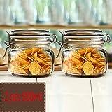 Xuan - worth having Transparentes Glas versiegelt Glas Vorratsflasche Tank Honig Milchpulver Obst Küche liefert Lebensmittel Vorratsbehälter ( Farbe : Dark gold , größe : 2 pcs 500ml )