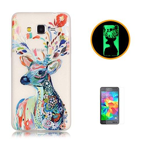 CaseHome Samsung Galaxy Grand Prime G530 Luminous Hülle (Mit Frie Displayschutzfolie) Leuchtende Silikone Rückhülle Für iPhone 6 6s Plus 5.5 Zoll Zoll Silikon Etui Handy Hülle Weiche Transparente Lumi Aquarell Hirsch