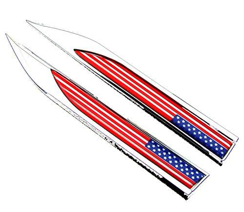 2 Stück Metall Amerikanische Flagge Auto Körperseite Emblem Abzeichen Aufkleber Badge Für Ford Chevrolet Cadillac
