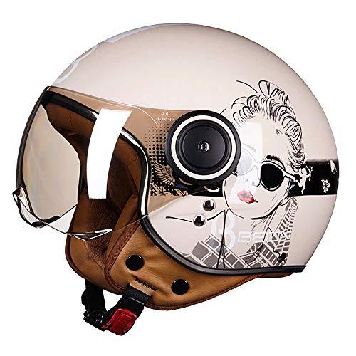 QSWSW Casco Moto Vintage Omologato Integrale, ECE Omologato, Caschi Con Occhiali/Maschera/Visiera Parasole (XL(59~60cm), Rosa chiaro)