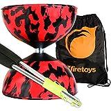 Harlequin Diabolos Set, Metal Diabolo Sticks, Diablo String & Bag (Red & Black)