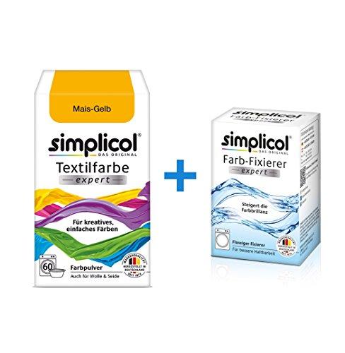 Simplicol Textilfarbe Expert + Farbfixierer Kombipack, Mais-Gelb 1701: Farbe für Waschmaschine Oder manuelles Färben